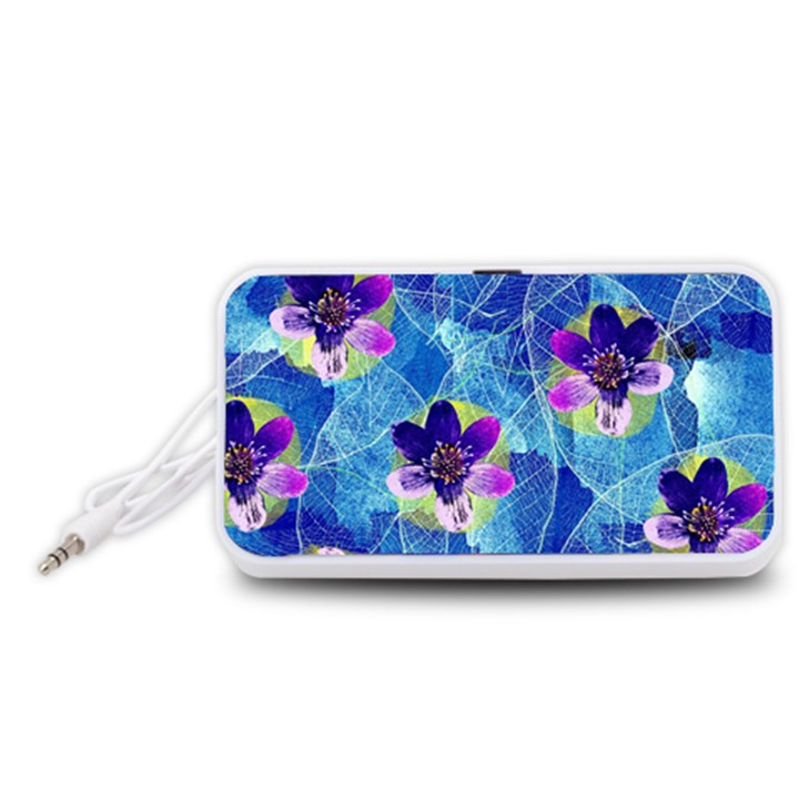 Purple Flowers Portable Speaker (White)