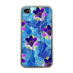 Purple Flowers Apple Iphone 4 Case (clear)