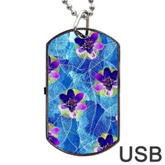Purple Flowers Dog Tag USB Flash (One Side)
