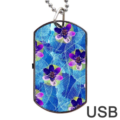 Purple Flowers Dog Tag USB Flash (Two Sides)
