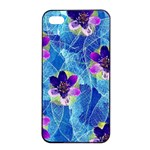Purple Flowers Apple iPhone 4/4s Seamless Case (Black) Front