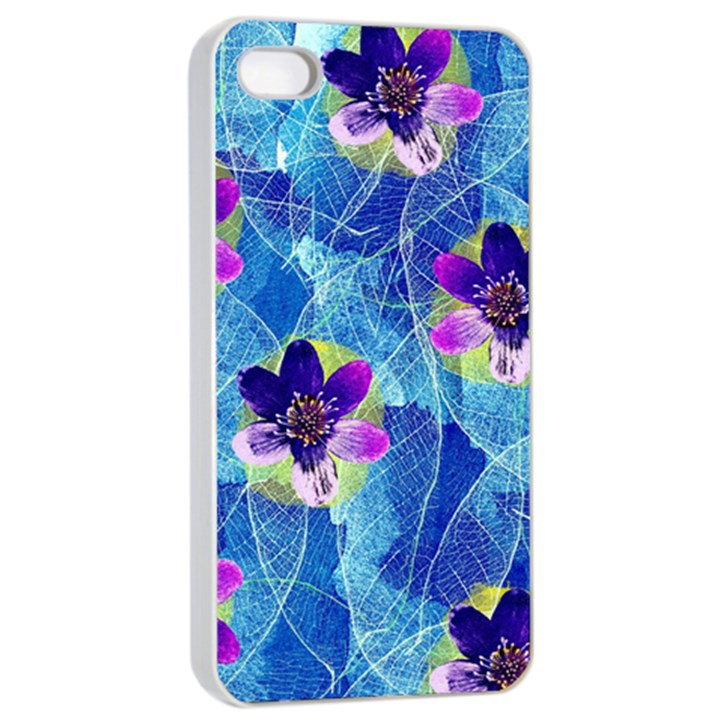 Purple Flowers Apple iPhone 4/4s Seamless Case (White)