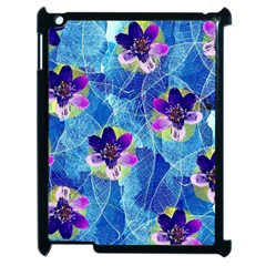 Purple Flowers Apple iPad 2 Case (Black)