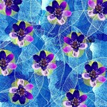 Purple Flowers Twin Hearts 3D Greeting Card (8x4) Inside
