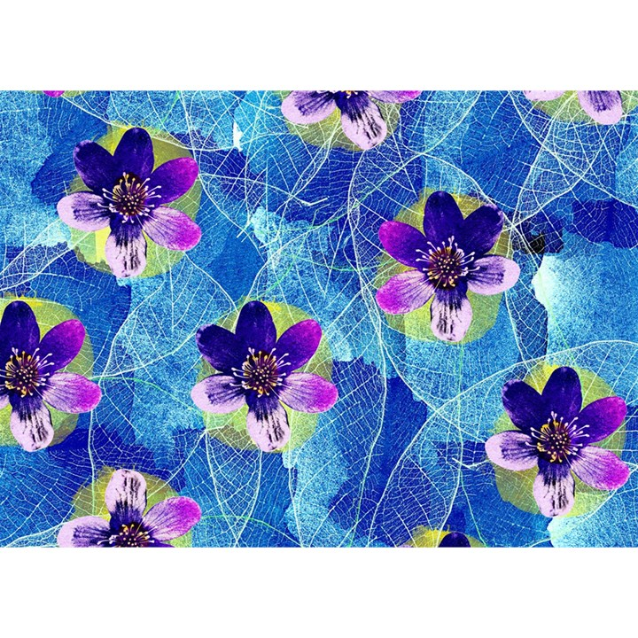 Purple Flowers Birthday Cake 3D Greeting Card (7x5)
