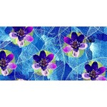 Purple Flowers Happy New Year 3D Greeting Card (8x4) Front