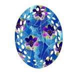 Purple Flowers Ornament (Oval Filigree)  Front