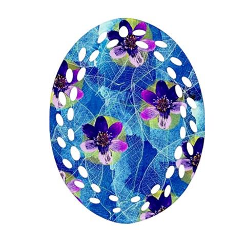 Purple Flowers Oval Filigree Ornament (2-Side)