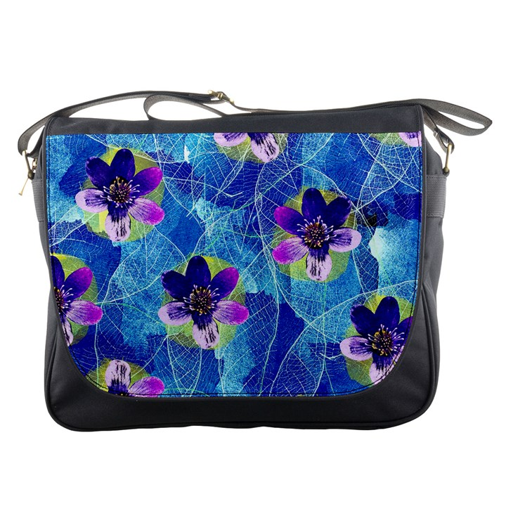 Purple Flowers Messenger Bags