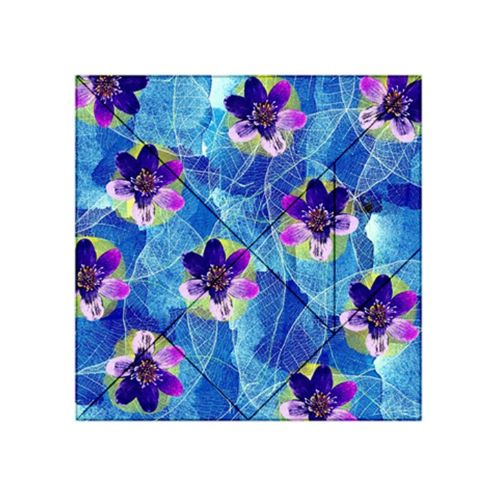 Purple Flowers Acrylic Tangram Puzzle (4  x 4 )