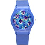 Purple Flowers Round Plastic Sport Watch (S) Front