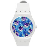 Purple Flowers Round Plastic Sport Watch (M) Front