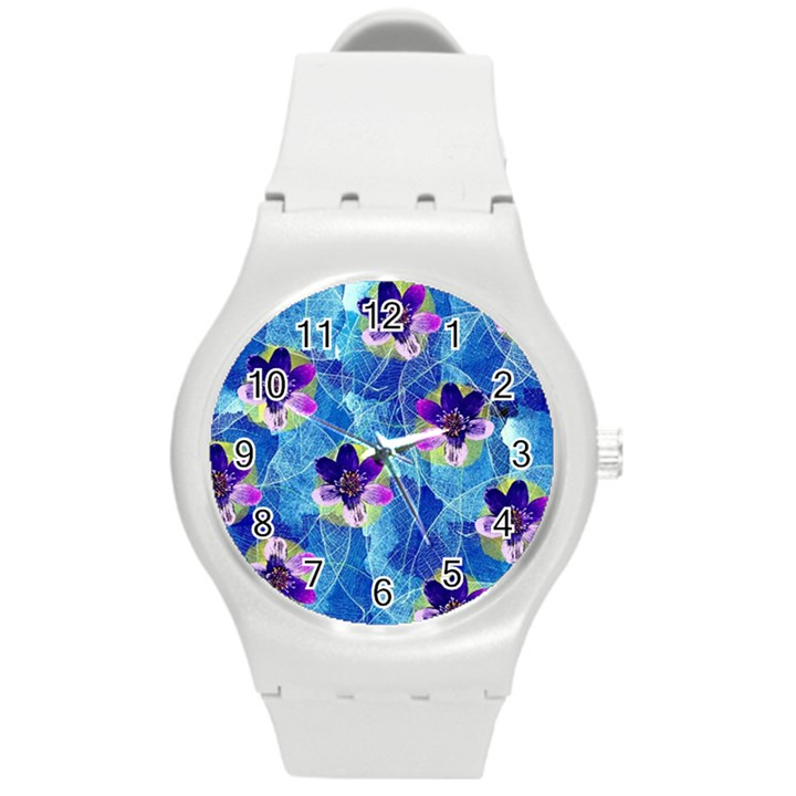 Purple Flowers Round Plastic Sport Watch (M)