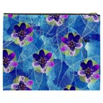 Purple Flowers Cosmetic Bag (XXXL)  Back