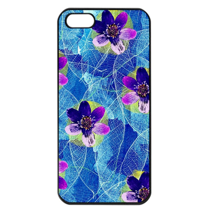 Purple Flowers Apple iPhone 5 Seamless Case (Black)