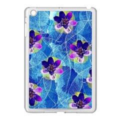 Purple Flowers Apple iPad Mini Case (White)