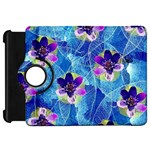 Purple Flowers Kindle Fire HD Flip 360 Case Front