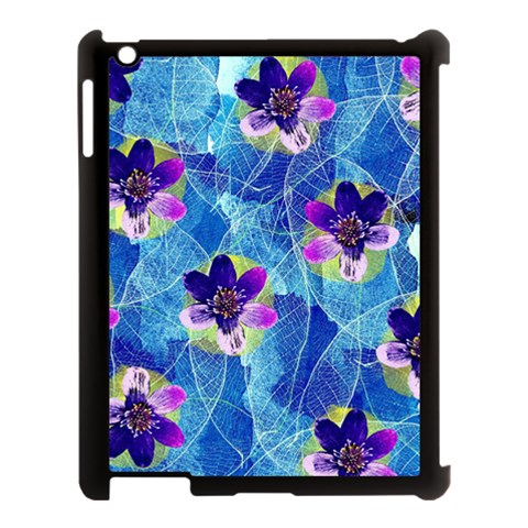 Purple Flowers Apple iPad 3/4 Case (Black)