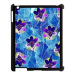 Purple Flowers Apple iPad 3/4 Case (Black) Front