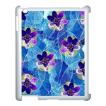 Purple Flowers Apple iPad 3/4 Case (White) Front
