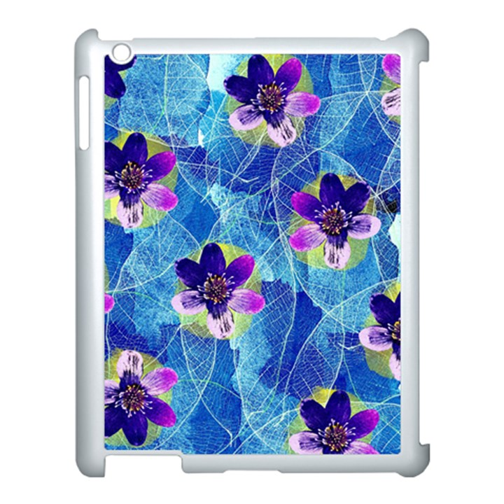 Purple Flowers Apple iPad 3/4 Case (White)