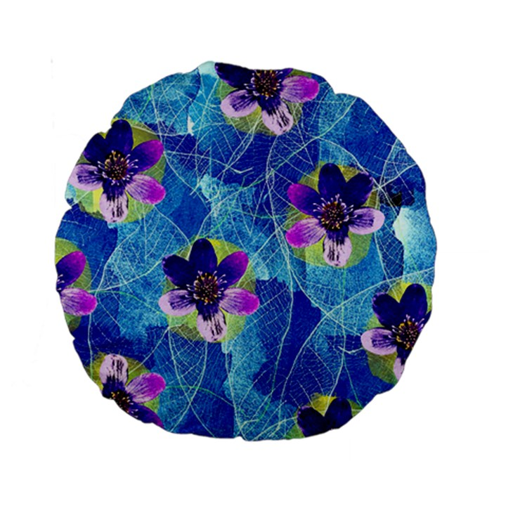 Purple Flowers Standard 15  Premium Round Cushions