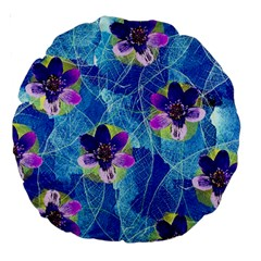 Purple Flowers Large 18  Premium Round Cushions