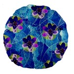 Purple Flowers Large 18  Premium Round Cushions Back