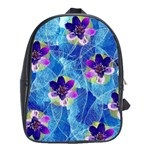 Purple Flowers School Bags (XL)  Front