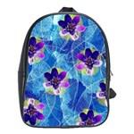 Purple Flowers School Bags (XL)  Front