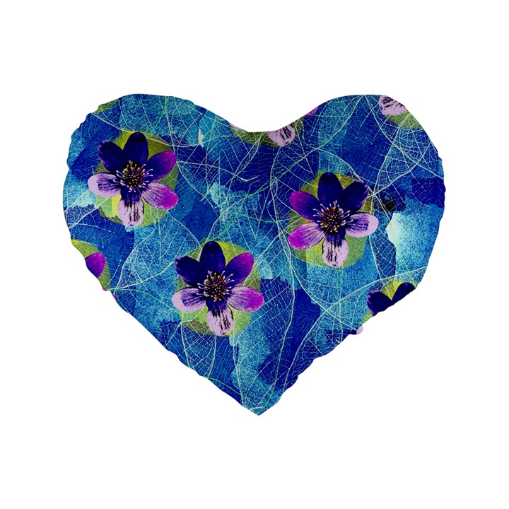 Purple Flowers Standard 16  Premium Heart Shape Cushions