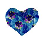 Purple Flowers Standard 16  Premium Heart Shape Cushions Back