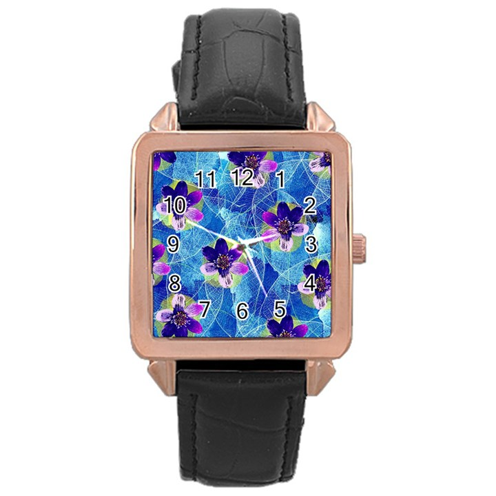 Purple Flowers Rose Gold Leather Watch
