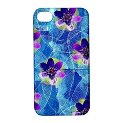 Purple Flowers Apple iPhone 4/4S Hardshell Case with Stand