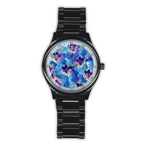 Purple Flowers Stainless Steel Round Watch