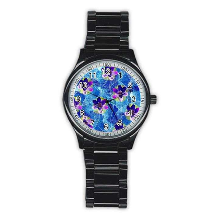 Purple Flowers Stainless Steel Round Watch