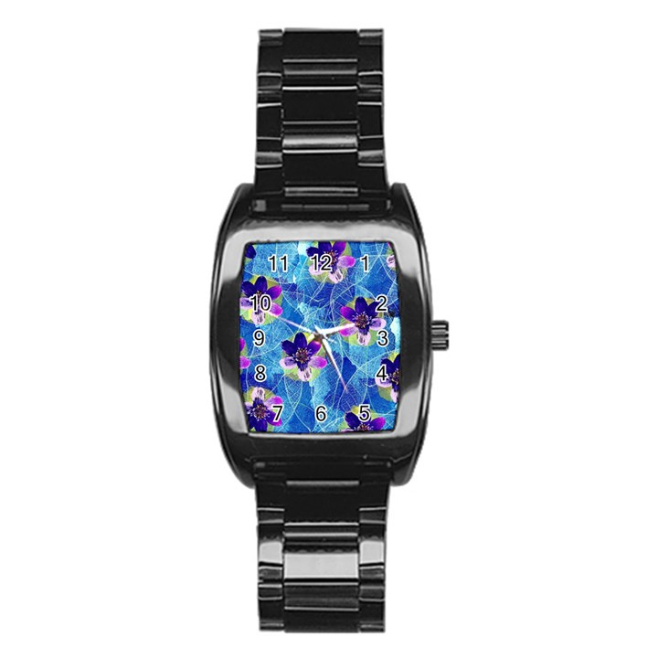 Purple Flowers Stainless Steel Barrel Watch