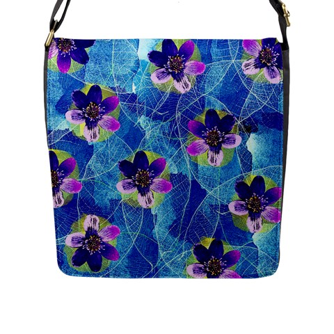 Purple Flowers Flap Messenger Bag (L)