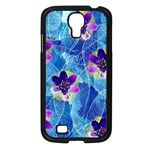Purple Flowers Samsung Galaxy S4 I9500/ I9505 Case (Black) Front
