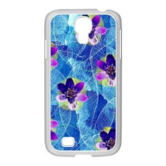 Purple Flowers Samsung Galaxy S4 I9500/ I9505 Case (white)