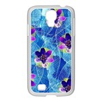 Purple Flowers Samsung GALAXY S4 I9500/ I9505 Case (White) Front
