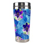 Purple Flowers Stainless Steel Travel Tumblers Left