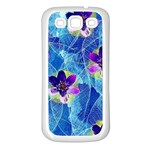Purple Flowers Samsung Galaxy S3 Back Case (White) Front