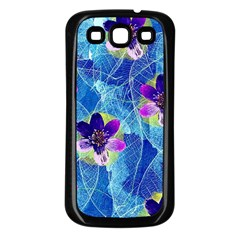 Purple Flowers Samsung Galaxy S3 Back Case (black)