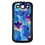 Purple Flowers Samsung Galaxy S3 Back Case (Black) Front