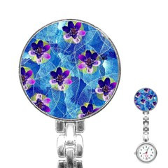 Purple Flowers Stainless Steel Nurses Watch