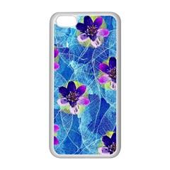 Purple Flowers Apple iPhone 5C Seamless Case (White)