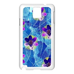 Purple Flowers Samsung Galaxy Note 3 N9005 Case (White)