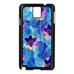 Purple Flowers Samsung Galaxy Note 3 N9005 Case (Black) Front
