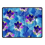 Purple Flowers Double Sided Fleece Blanket (Small)  50 x40 Blanket Front
